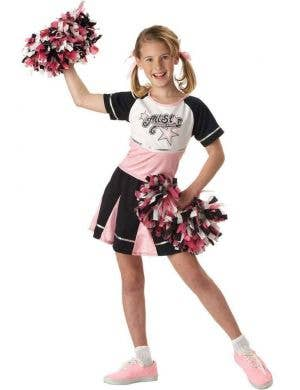 Girl's All Star School Cheerleader Fancy Dress Costume Front View
