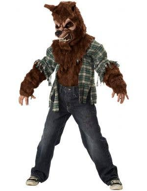 Brown Boy's Werewolf Fur Halloween Monster Costume Front