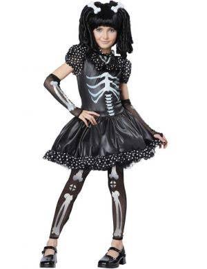 Girls Skeleton Halloween Fancy Dress Costume Front View