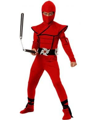 Boys Red Ninja Japanese Warrior Book Week Costume Main Image
