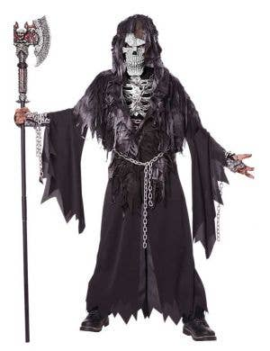 Boys Grim Reaper Halloween Fancy Dress Costume Front View