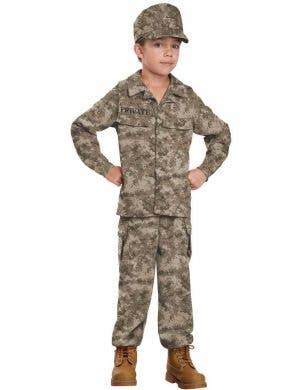 Boys Military Soldier Fancy Dress Costume Front View