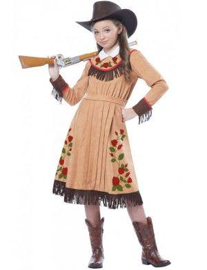 Girls Wild West Cowgirl Fancy Dress Costume Front View