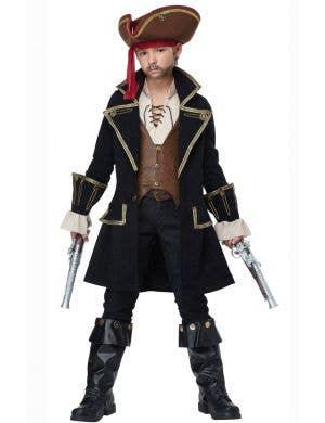 Pirate Captain Deluxe Boys Book Week Fancy Dress Costume Front View