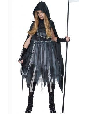 Girls Grim Reaper Halloween Fancy Dress Costume Front View