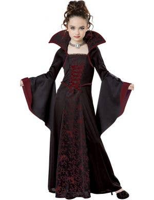 Royal Black and Red Vampire Girl's Halloween Costume