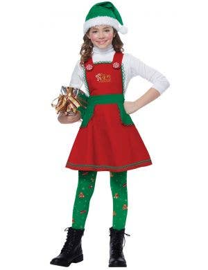 Elf In Charge Girl's Christmas Fancy Dress Costume