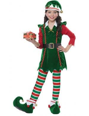 Festive Elf Girl's Christmas Fancy Dress Costume