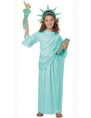 Girl's Statue of Liberty United States Fancy Dress Costume Front View