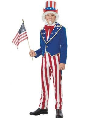 United States Boys Uncle Sam American Book Week Costume Front View
