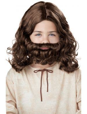 Jesus Boy's Religious Brown Beard and Wig Set