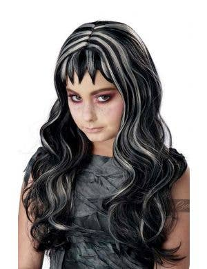 Gothic Girl's Black and Grey Streaks Halloween Costume Wig