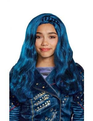 Evie Descendants Girl's Blue Wavy Costume Wig