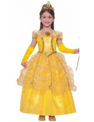 Girl's Yellow Princess Belle Disney Costume Front View