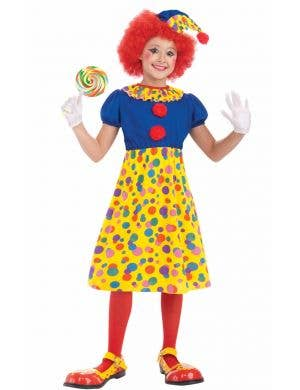 Girls Circus Clown Cheap Book Week Costume Front View