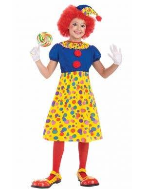 Girls Circus Clown Cheap Book Week Costume Front View
