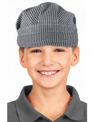 Train Engineer Black and White Striped Boys Cap Costume Accessory