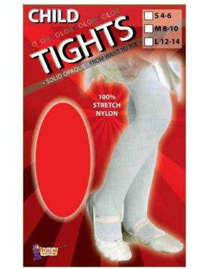 Solid Red Opaque Girls Full Length Stockings