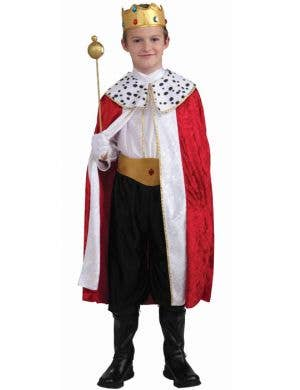 Boy's King Fancy Dress Costume with Red Cape and Crown Front