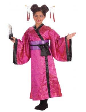 Japanese Geisha Pink Kimono Fancy Dress Costume For Girls