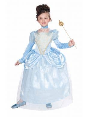 Cinderella Girl's Blue Disney Princess Costume Front View