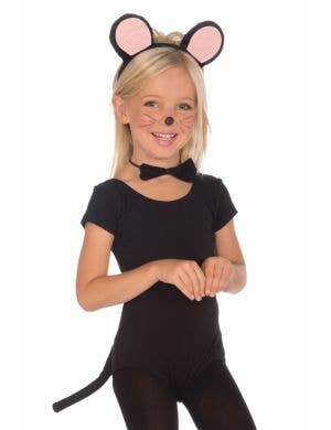 Girl's Black Mouse Book Week Costume Accessory Set Front View
