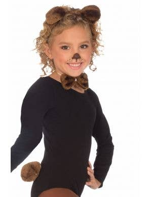 Girl's Brown Teddy Bear Book Week Costume Accessory Set Front View