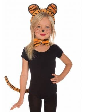 Girl's Striped Tiger Book Week Costume Accessory Set Front View