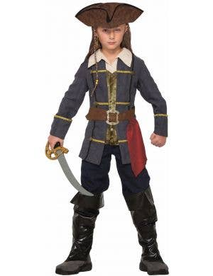 Captain Cutlass Boy's Blue And Brown Pirate Costume