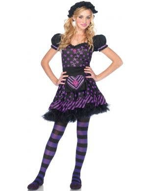 Teen Girls Purple Rag Doll Halloween Costume Front View