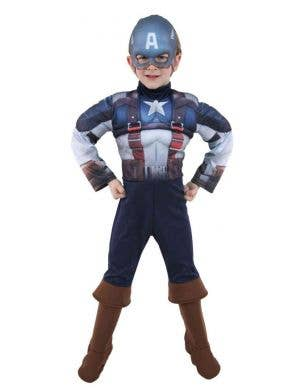 Avengers Boys Captain America Muscle Chest Book Week Fancy Dress Costume full view