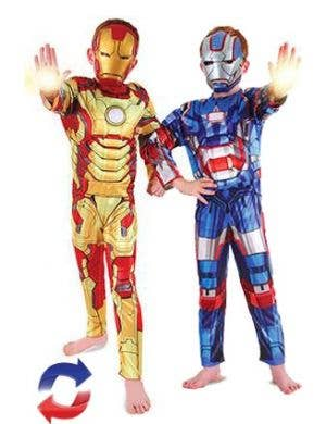 Iron Man and Iron Patriot Reversible Boys Marvel Superhero Costume Main Image