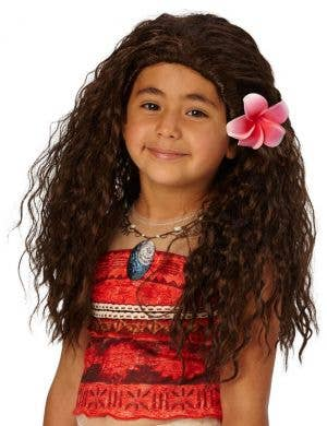 Disney Princess Moana Girls Long Brown Wavy Costume Wig