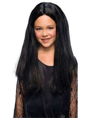 Addams Family Girls Morticia Halloween Costume Wig