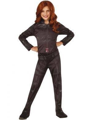 Girls Marvel Avengers Superhero Black Widow Fancy Dress Costume View 1