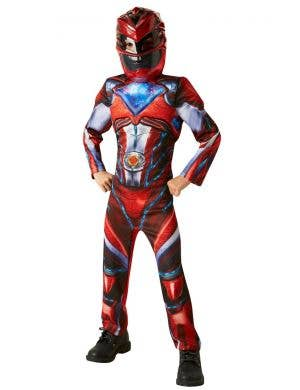 Boys Red Power Rangers Muscle Chest Fancy Dress Costume Front View