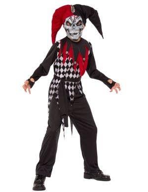 Boys Scary Evil Jester Clown Halloween Costume Main Image