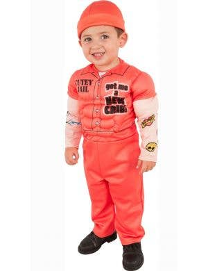 Little Boys Cute Orange Prisoner Convict Costume Main Image