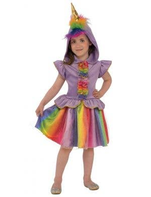 Rainbow Sparkle Unicorn Girls Fancy Dress Costume