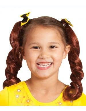 The Wiggles girls Emma curly red pigtails clips with bows costume accessory