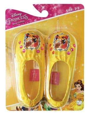 Yellow Satin Girls Disney Princess Belle Slippers Front View