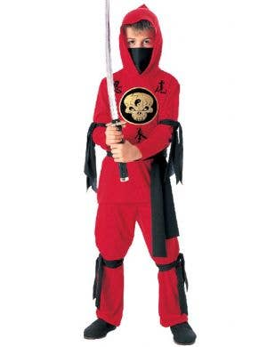 Boy's Red Ninja Fighter Japanese Fancy Dress Costume Front