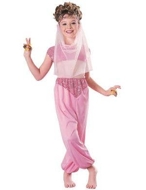 Girl's Pink Genie Costume Front View