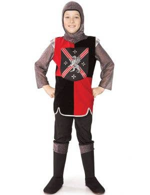 Boy's Knight Medieval Red and Black Costume Front