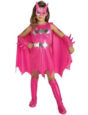 Pink Girl's Batgirl Superhero Fancy Dress Front View