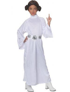 Girls White Princess Leia Star Wars Kids Fancy Dress Costume
