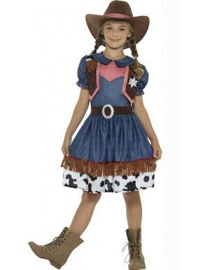 Texan Cowgirl Kids Book Week Fancy Dress Costume Front Image
