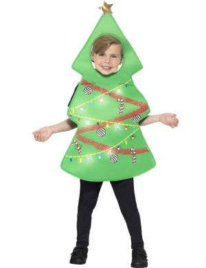 Festive Christmas Tree Fancy Dress Costume for Kids Main Image