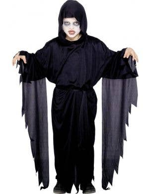 Boy's Black Grim Reaper Fancy Dress Costume Front