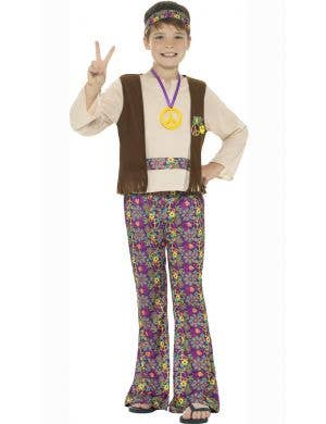 1970's Boys Retro Hippie Fancy Dress Costume front view